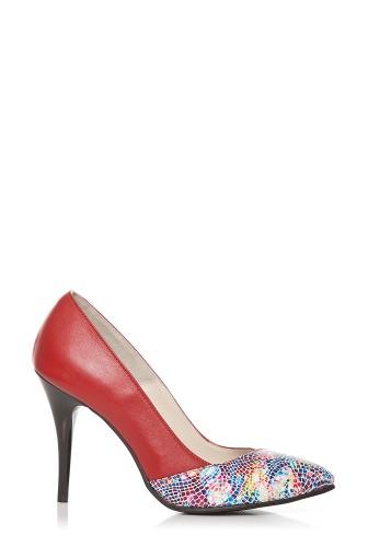 Pantofi stiletto cu imprimeu mozaic din piele naturala P127 rosu