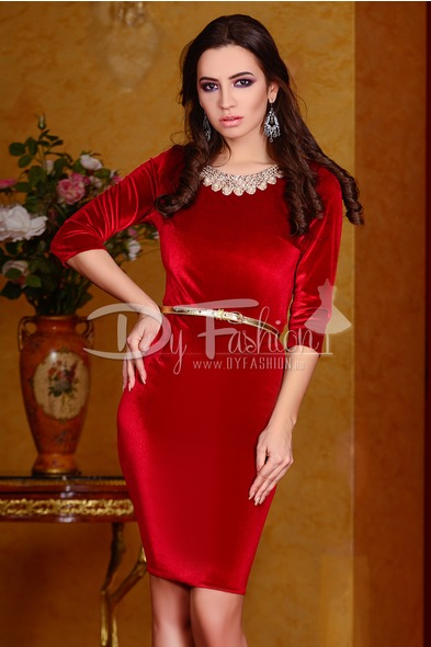 Rochie Red Velvet Pearls